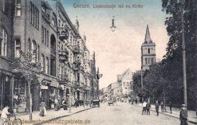 Gnesen, Lindenstraße mit evangelischer Kirche
