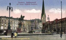 Hamburg, Rathausmarkt mit Kaiser Wilhelm Denkmal