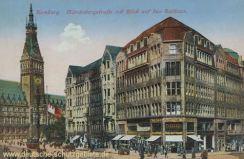 Hamburg, Mönckebergstraße mit Blick auf das Rathaus