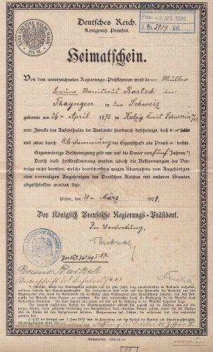 Heimatschein Deutsches Reich, Königreich Preußen, 1909