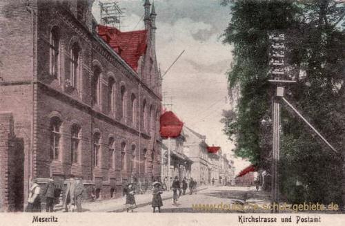 Meseritz, Kirchstraße und Postamt