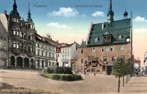 Pößneck, Marktplatz mit Rathaus