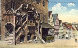 Pößneck, Rathaustreppe und Krautgasse