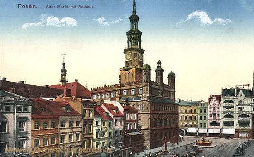 Posen, Alter Markt mit Rathaus