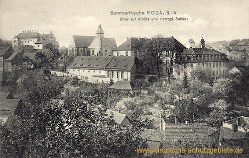 Roda, S.-A., Blich auf Kirche und Herzogliches Schloss