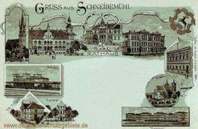 Schneidemühl, Bahnhof, Rathaus, Landgericht, Kirche, Kaserne, Synagoge