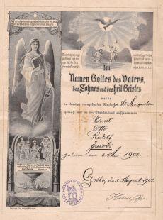 Taufschein Rudolf Jacobs, 1902