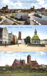 Wismar, Hafen, Markt mit Wasserkunst, Marien- und Georgenkirche