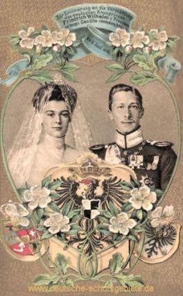 Zur Erinnerung an die Vermählung des deutschen Kronprinzen Friedrich Wilhelm v. Preußen mit Herzogin Cecilie