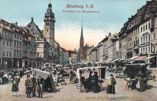 Altenburg, Marktplatz mit Wochenmarkt