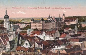 Altenburg, Herzogliches Residenzschloss vom Nikolai-Turm gesehen