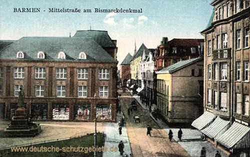 Barmen, Mittelstraße am Bismarckdenkmal