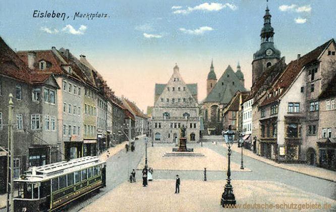 Eisleben, Marktplatz mit Lutherdenkmal