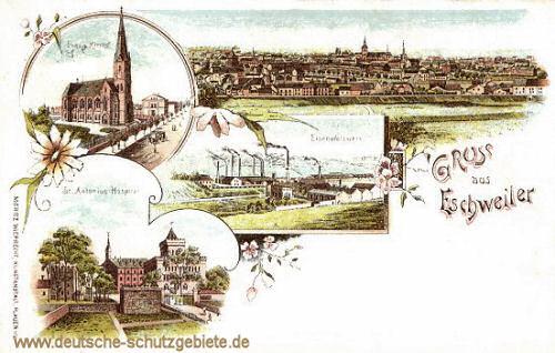 Eschweiler, Eisenwalzwerk, Evang. Kirche, St. Antonius-Hospital
