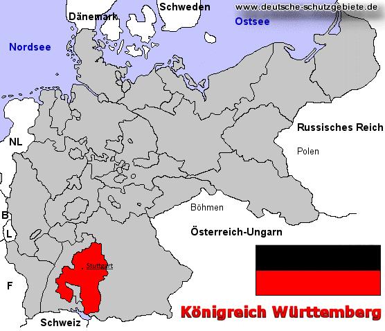 Königreich Württemberg, Lage im Deutschen Reich