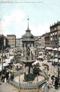 Magdeburg, Kaiser Otto Denkmal mit Altem Markt