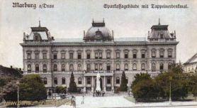 Marburg a. d. Drau, Sparkassagebäude mit Tappeinerdenkmal