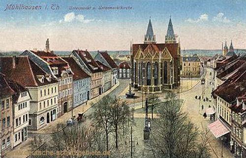 Mühlhausen i. Thür., Untermarkt mit Untermarktkirche