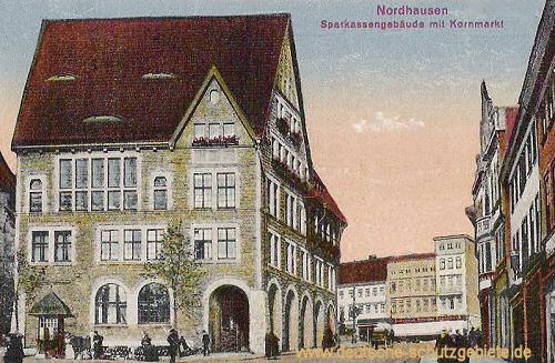 Nordhausen, Sparkasse und Kornmarkt