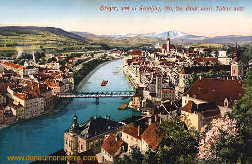 Steyr, 305 m Seehöhe, Ob.-Oe., Blick vom Tabor aus