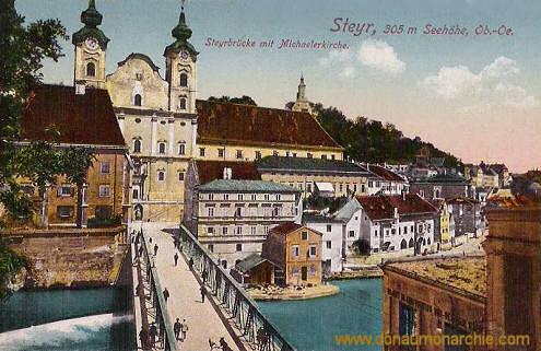 Steyr, 305 m Seehöhe, Ob.-Oe., Steyrbrücke mit Michaelerkirche
