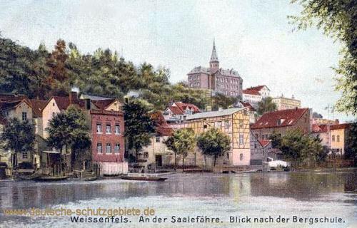 Weißenfels, an der Saalefähre, Blick nach der Bergschule