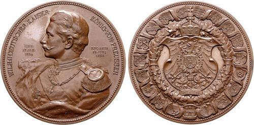 Wilhelm Deutscher Kaiser König von Preußen, Bronzemedaille zum Regierungsantritt am 15. Juni 1888