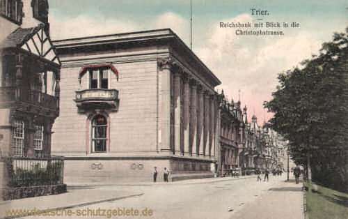 Trier, Reichsbank mit Blick in die Christophstraße