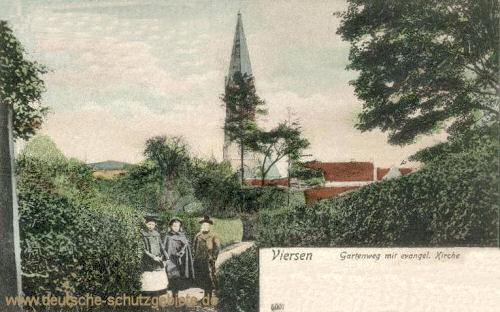 Viersen, Gartenweg mit evangelischer Kirche