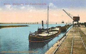 Wesel, Rheinpartie mit Eisenbahnbrücke