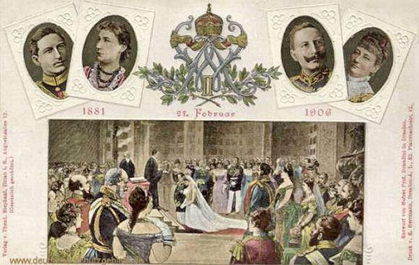 Wilhelm und Auguste Viktoria zur Hochzeit am 27. Februar 1881