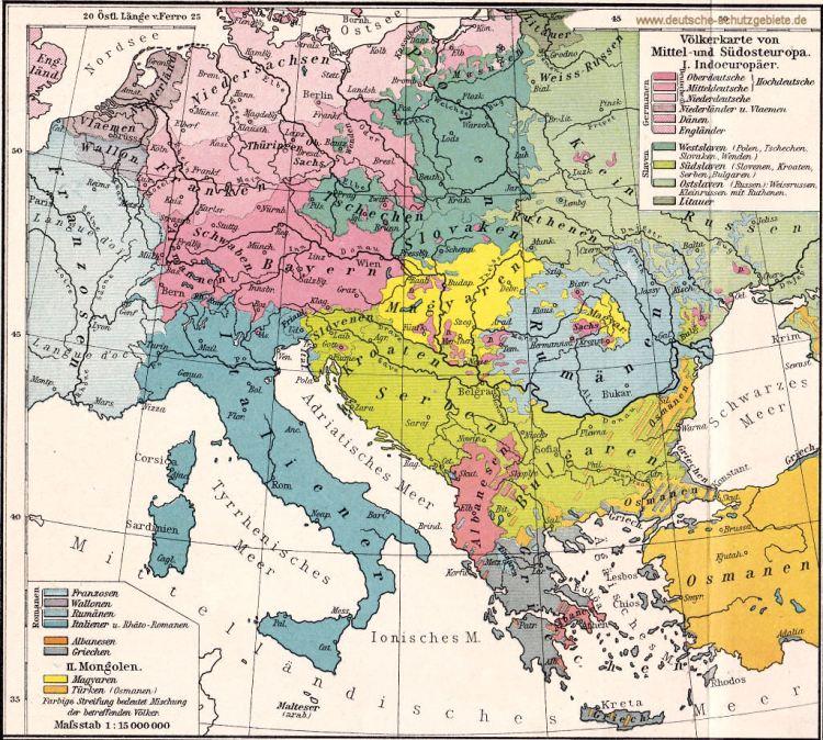 Völkerkarte von Mittel- und Südosteuropa um das Jahr 1900