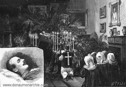 Aufbahrung im Schlafzimmer des Kaisers Franz