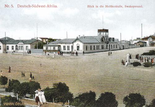 Deutsch-Südwest-Afrika, Blick in die Moltkestraße, Swakopmund