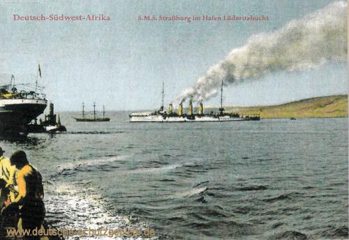 Deutsch-Südwest-Afrika, S.M.S. Straßburg im Hafen Lüderitzbucht