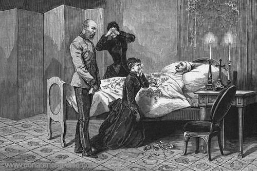 Erste Aufbahrung der Leiche in dem kronprinzlichen Zimmer der Hofburg
