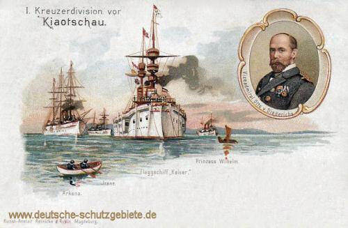 1. Kreuzerdivision vor Kiautschou S.M.S. Arkona, S.M.S. Irene, Flaggschiff Kaiser, S.M.S. Prinzess Wilhelm, Vizeadmiral Otto von Diederichs