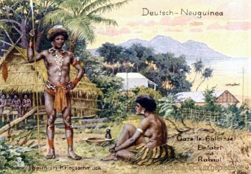 Deutsch-Neuguinea, Papua im Kriegsschmuck, Gazelle-Halbinsel, Einfahrt nach Rabaul