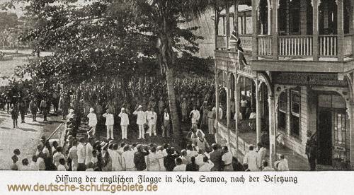 Samoa, Hissung der englischen Flagge in Apia nach der Besetzung