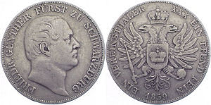 1 Vereinsthaler, 1859, Friedrich Günther Fürst zu Schwarzburg