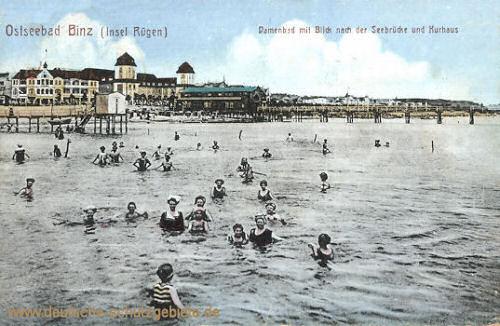 Binz (Rügen), Damenbad mit Blick nach der Seebrücke und Kurhaus