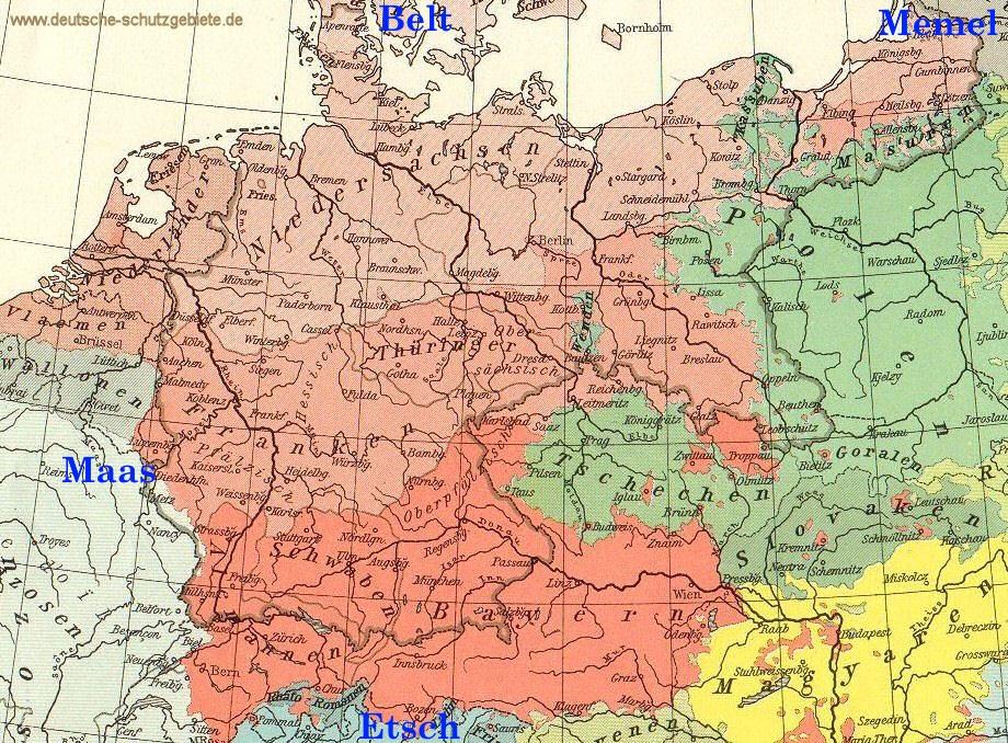 Deutschlandlied: Von der Maas bis an die Memel, von der Etsch bis an den Belt