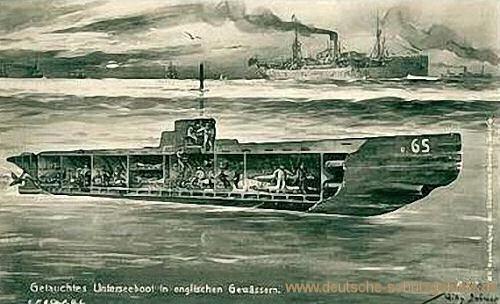 Getauchtes Unterseeboot in englischen Gewässern