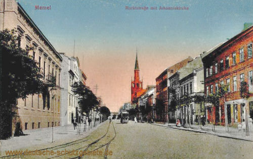 Memel, Marktstraße mit Johanniskirche
