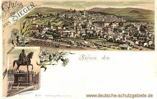 Siegen, Stadtansicht und Kaiserdenkmal