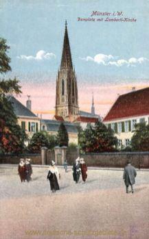 Münster i. W., Domplatz mit Lamberti-Kirche