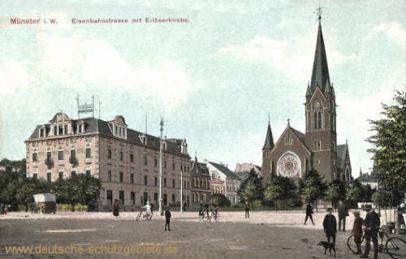 Münster i. W., Eisenbahnstraße mit Erlöserkirche