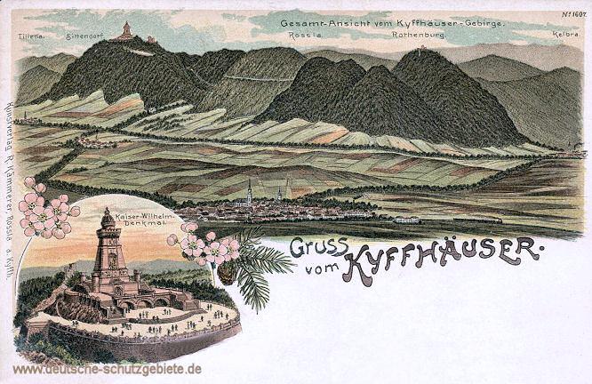 Gruss vom Kyffhäuser. Gesamt-Ansicht vom Kyffhäuser-Gebirge.