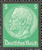 Hindenburg Ausgabe zum Tode mit Trauerrand 1934, 5 Pfennig