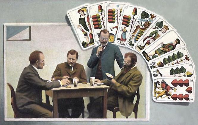 Skatspieler mit deutschem Blatt
